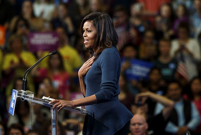 """First Lady Michelle Obama delivered an incredibly powerful response to news of Donald Trump's leaked 2005 tape which appeared to be sanctioning sexual assault. Her speech, which called out the dangerously misogynistic election discourse, resonated with women around the world. She said: """"Too many are treating this as just another day's headline, as if our outrage is overblown or unwarranted. As if this is normal. Just politics as usual, but New Hampshire, be clear: This is not normal, this is not politics as usual. This is disgraceful. It is intolerable"""". ***Gallery continues after video***"""