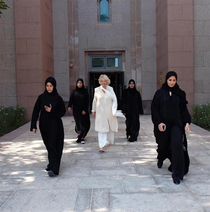 """The Duchess of Cornwall, Camilla Parker-Bowles hired an all-female security detail during a visit to the United Arab Emirates when she travelled to the region as part of a tour to promote religious tolerance and female empowerment. While Camilla's 'remarkable' women might not look that threatening on the face of it, they've been trained in martial arts, and reportedly carry hidden weapons under their hijabs and abayas,  in case of attack. Camilla called her crack team the """"most incredible women""""."""