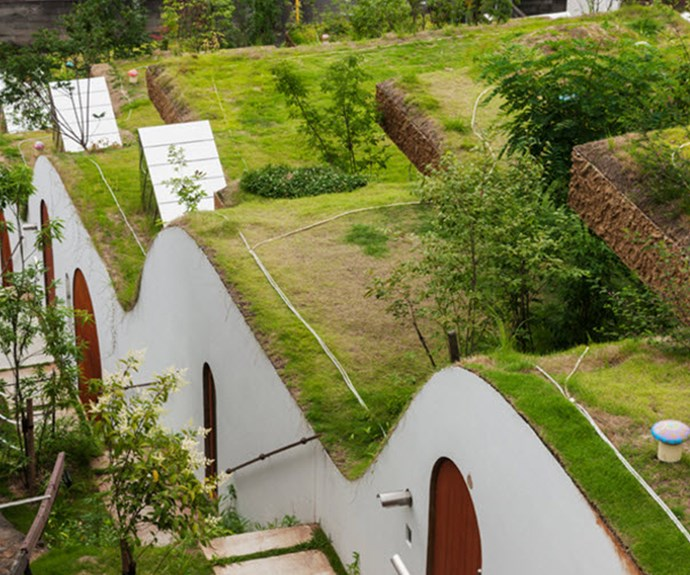 The specially designed roofs flow with the rolling hillside. Photo: Courtesy of Keita Nagata Architectural Element