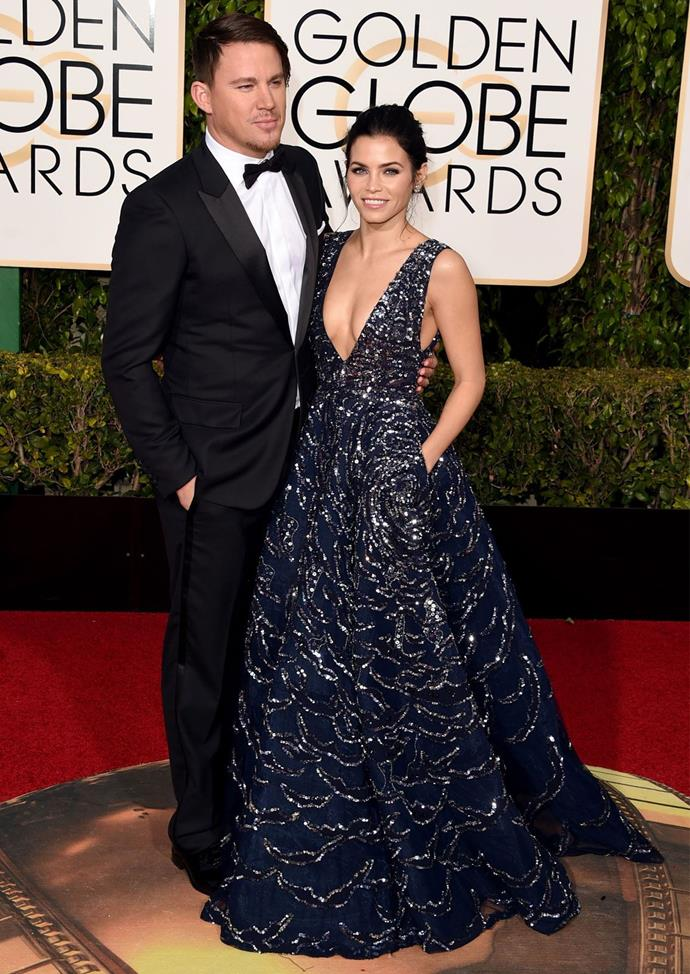 Jenna Dewan Tatum (with husband Channing) in Zuhair Murad at the 2016 Golden Globes.