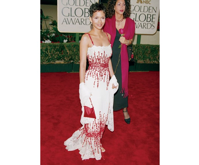 Halle Berry at the Golden Globes ceremony in 2000.