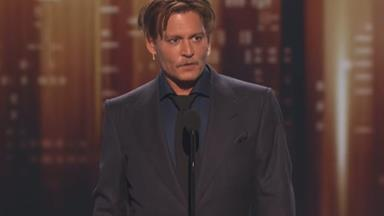Johnny Depp accepts award in first public appearance since divorce