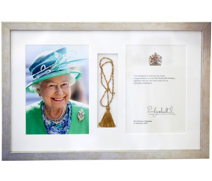 Barbara's congratulatory message for her 100th birthday from Queen Elizabeth.