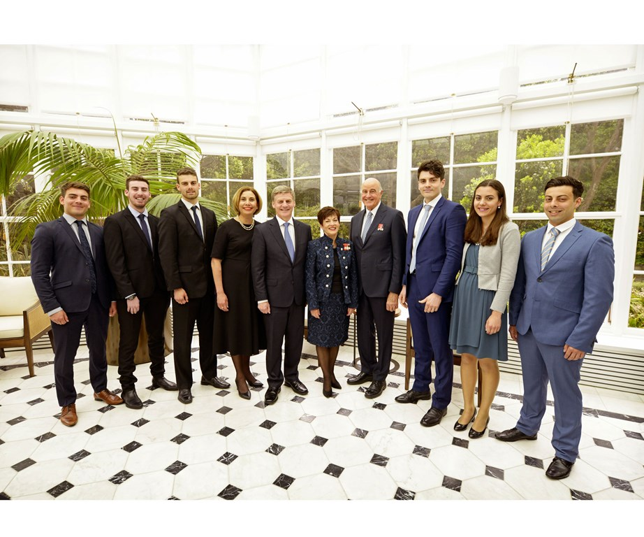 Bill English  and his wife Mary with Governor-General Dame Patsy Reddy, her husband Sir David Gascoigne and the English children (from left) Xavier, Bart, Rory, Luke, Maria and Thomas.