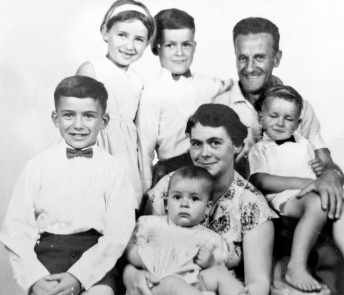 (Clockwise from left):  Stuart, Yvonne, Graeme, dad Frank, John, mum Winnie and baby Anthony.