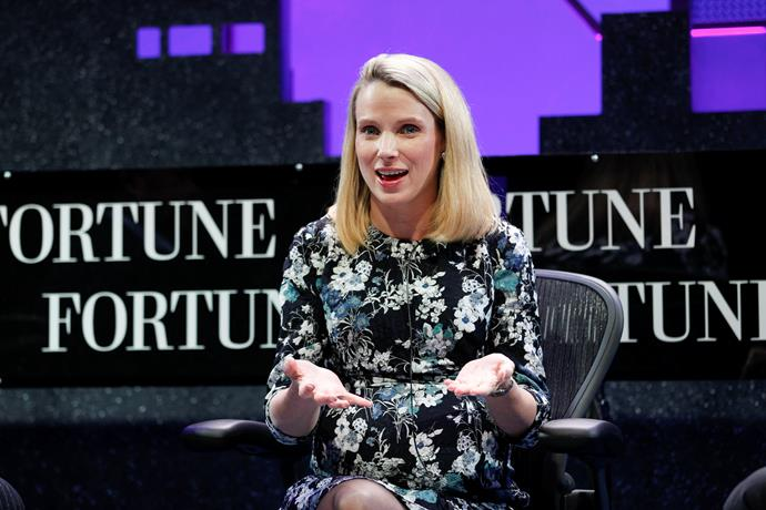 Marissa Mayer, pictured here in 2015, took only two weeks mat leave