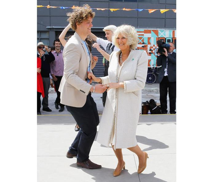 Sam led Camilla, Duchess of Cornwall, through her dance steps during a royal visit to Christchurch in 2012.