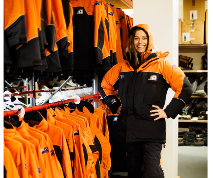 Kiwi singer Gin Wigmore kitting out in her extreme cold weather clothing at Antarctica New Zealand.