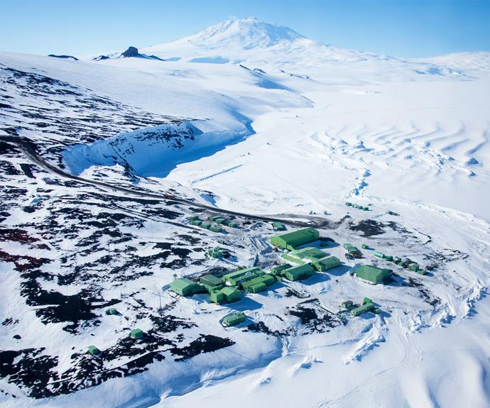 Scott Base with Mt Erebus in the background.