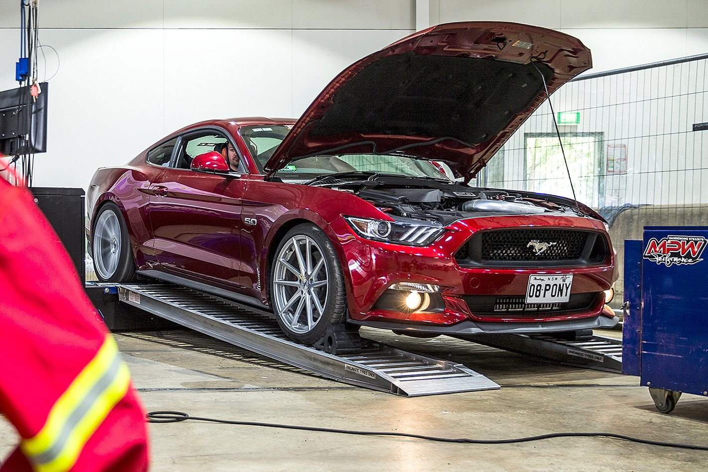 Ford Mustang GT on dyno