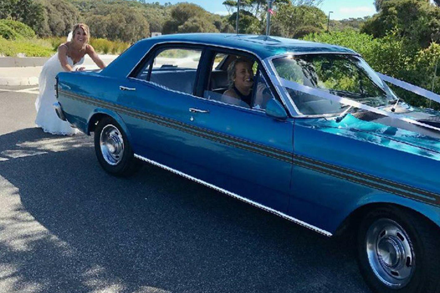 Jason Young's Falcon wedding car
