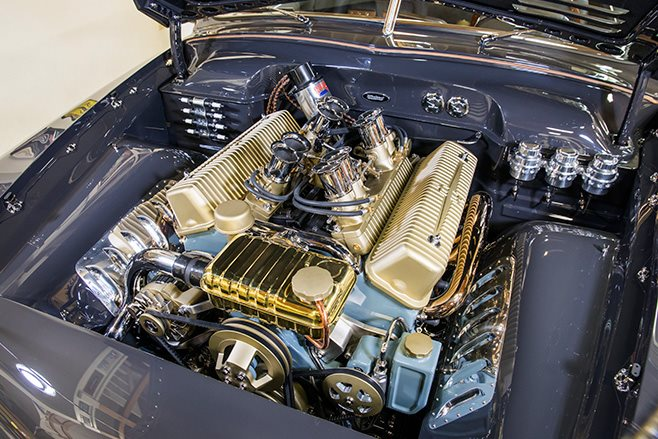 Shoebox Ford coupe engine bay
