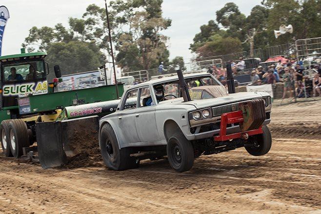 Big-block Toyota Crown tractor pull
