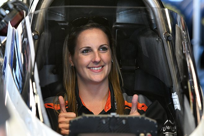 Kelly Bettes behind the wheel