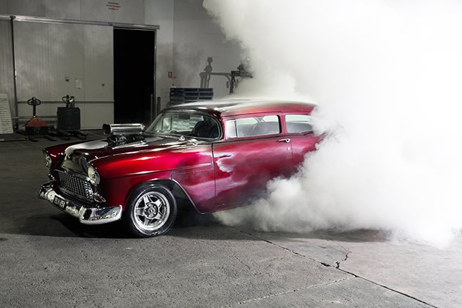 Chev Bel Air burnout