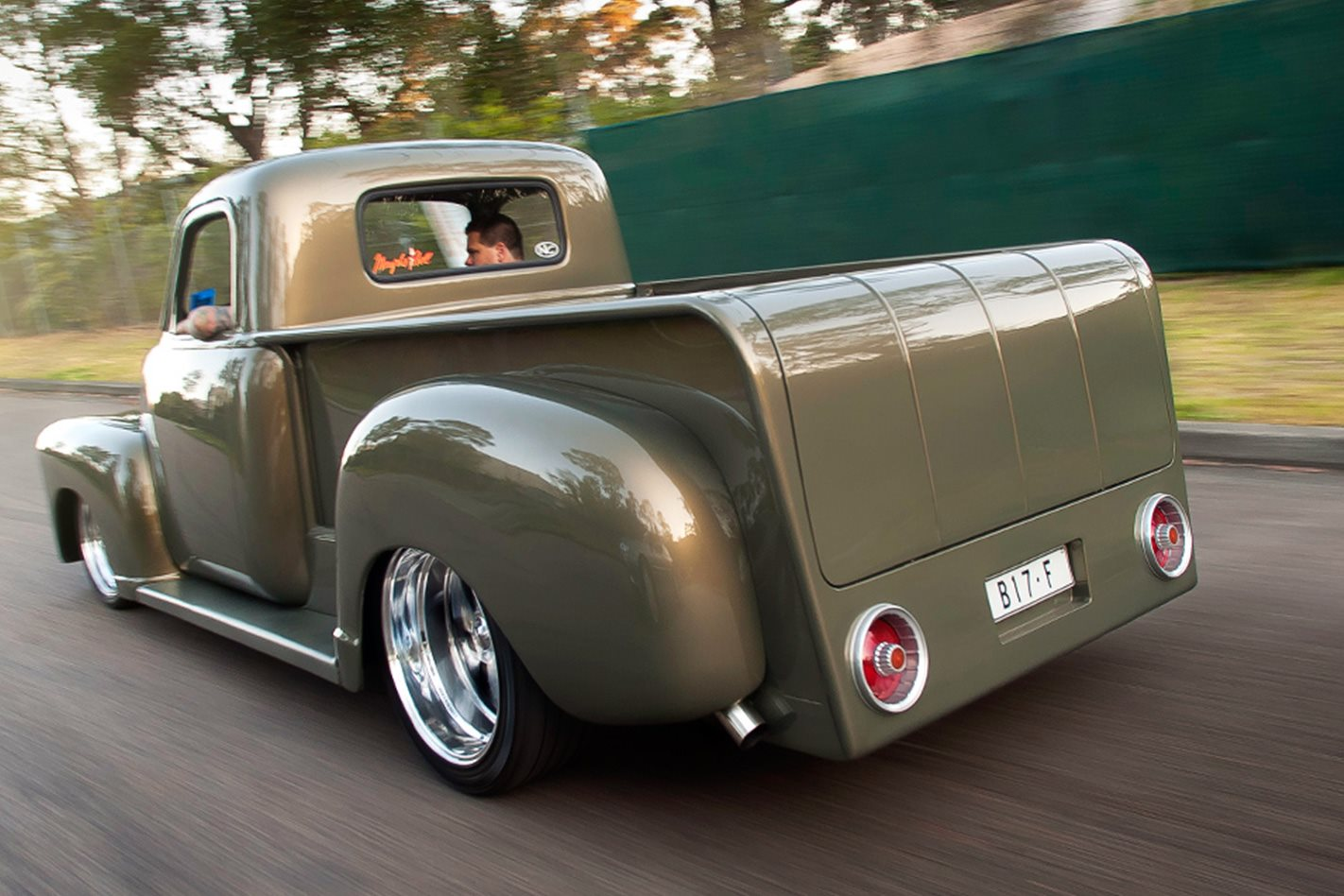 AARON GREGORY'S '51 CHEVY PICK-UP rear driving