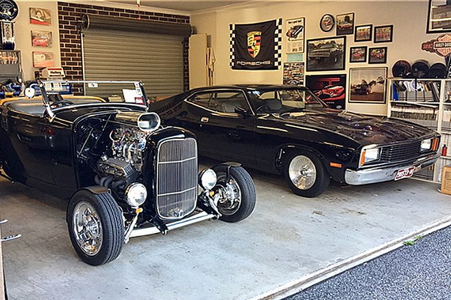 Ford Falcon XC and hotrod in garage
