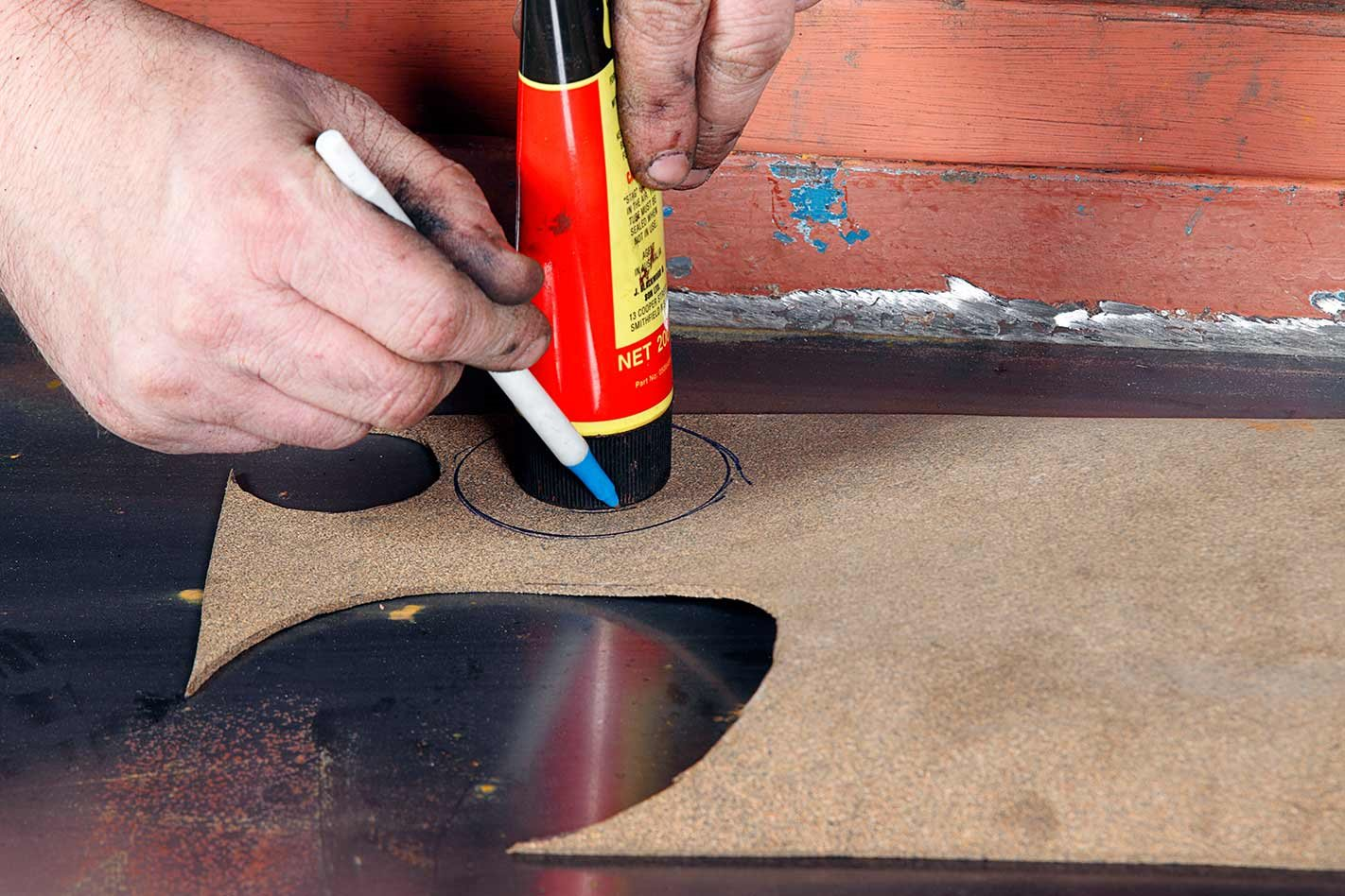 repairing a car fuel tank