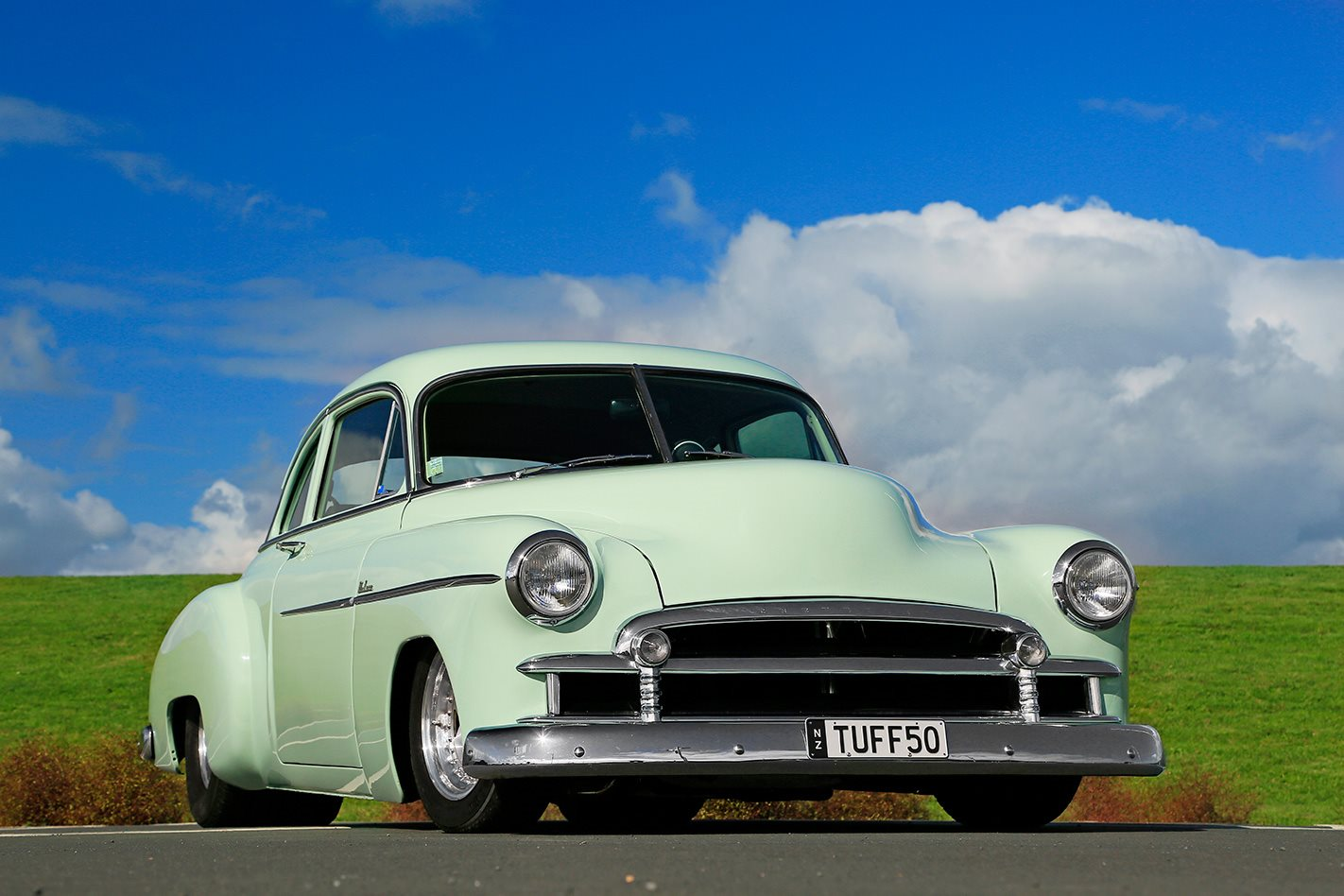 1950 V8 CHEV COUPE FRONT