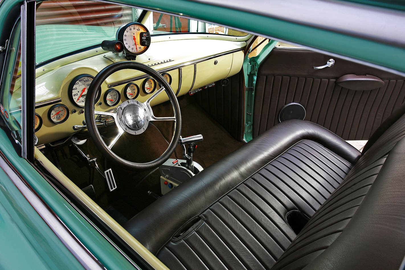 1950 V8 CHEV COUPE INTERIOR