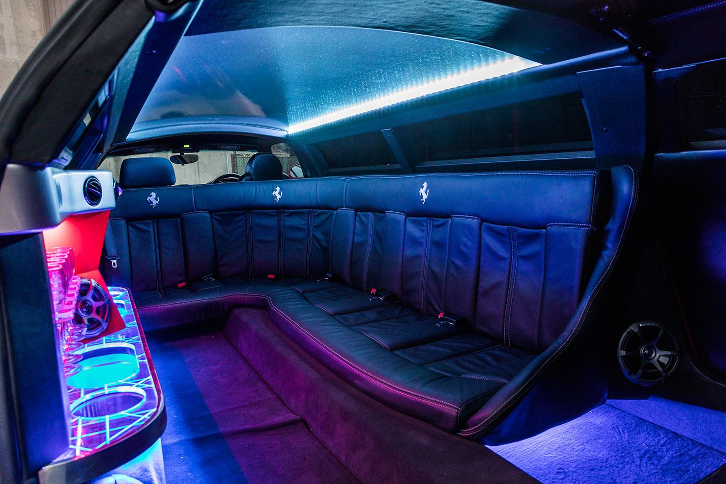 Stretch Ferrari limo interior