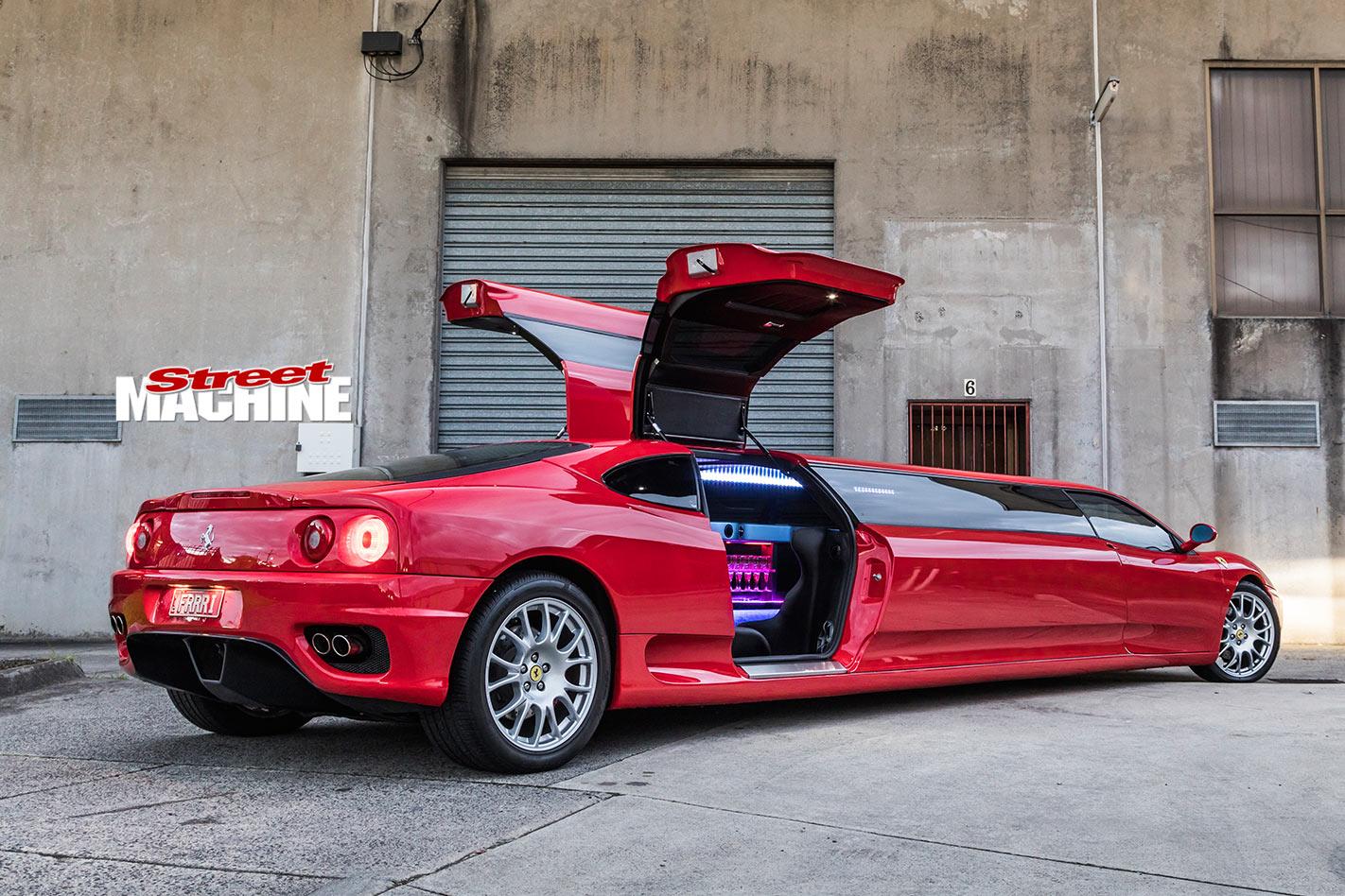 Stretch Ferrari limo rear