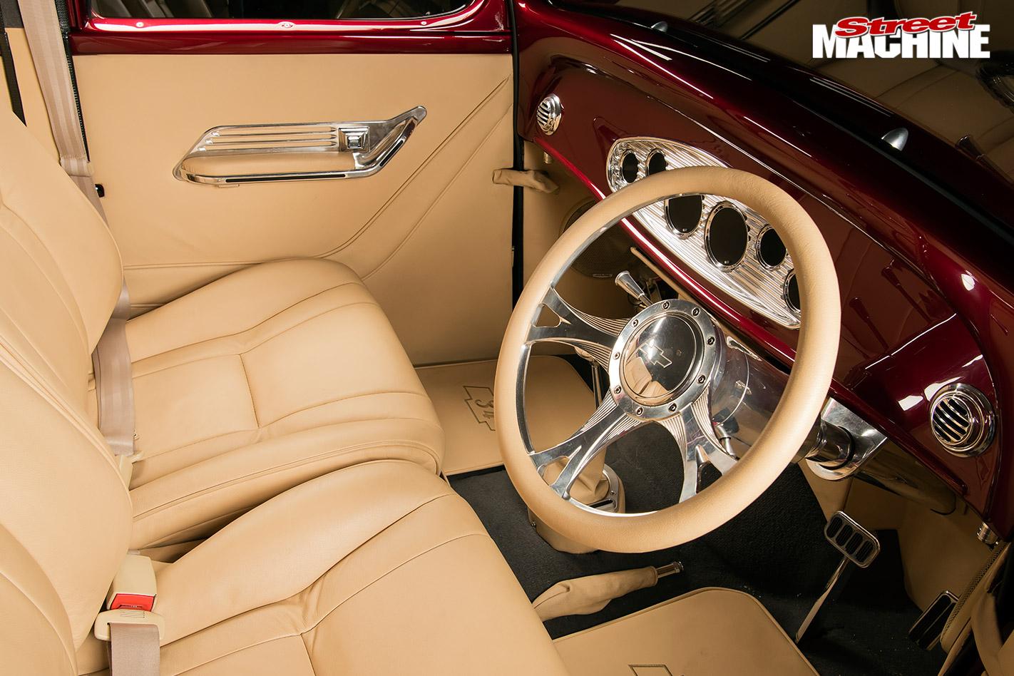 Chevy four-door sedan interior front