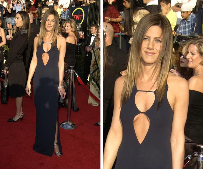 Jennifer Aniston took a risque approach to her red carpet look back in 2003.