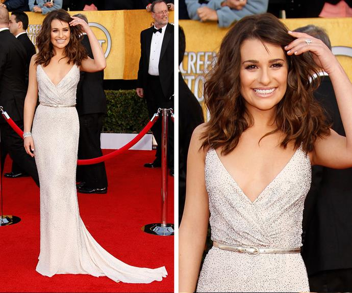 In 2011, it was all about Lea Michele and this stunning Oscar de la Renta caviar beaded dress.