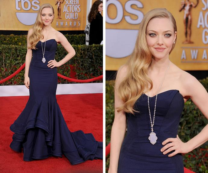 The deep blue Zac Posen strapless gown was perfect for Amanda Seyfried in 2013.