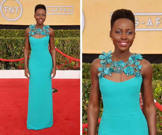 Lupita Nyong'o stole the show in this stunning Gucci gown at the 2014 awards.