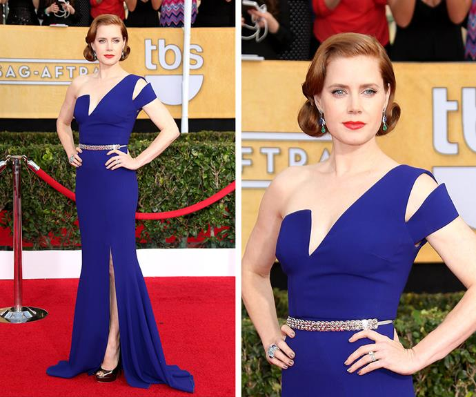 Amy Adams is breathtaking in this beautiful blue Antonio Berardi gown back in 2014.