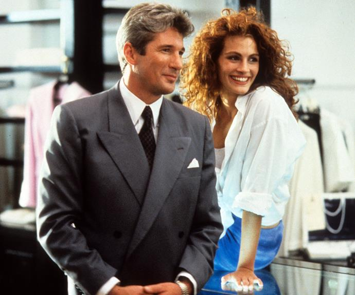 Julia Roberts and Richard Gere starring in Pretty Woman in 1990