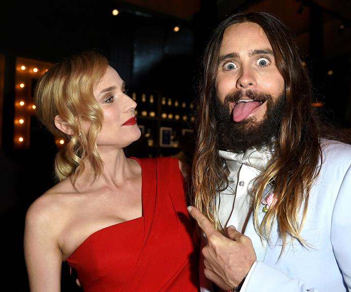 Jared Leto is clearly excited to see Diane Kruger!