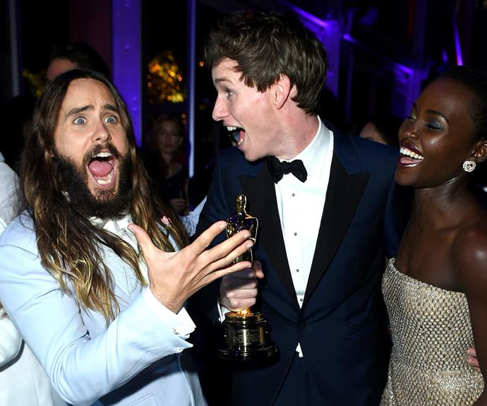 Actors Jared Leto and Lupita Nyong'o can't hide their excitement at Eddie's win!