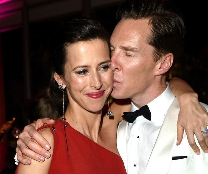 Newlyweds Sophie Hunter and Benedict Cumberbatch cuddle up at the Vanity Fair after party.