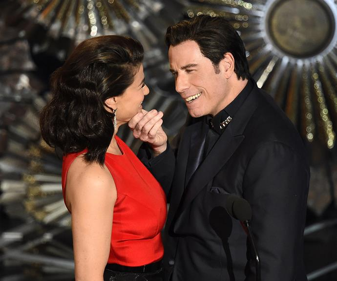 """It was when he took to the stage with Idina Menzel though that things got a bit uncomfortable for everyone watching. John awkwardly touched Idina's face, saying: """"But you, my darling, my beautiful, my wickedly talented Idina Menzel … is that right?"""""""