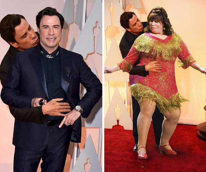 Thanks to social media, the image has since gone viral as the mischief makers of social media sites Imgur and Reddit have reworked the image into multiple memes, including these ones of John kissing himself...and himself in drag from the movie Hairspray.