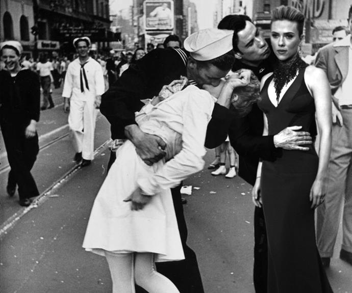 Another Redditor retouched the pair into the famous 'Kiss' image from the front cover of Life magazine when WWII ended... the John/Scarjo kiss seems less romantic somehow!