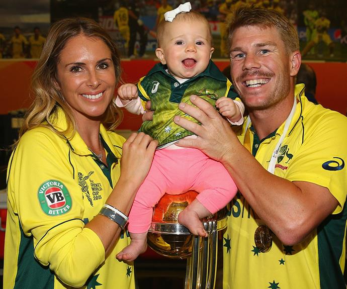 For doting father David Warner, the highlight of winning the cricketing World Cup was sharing the victory with his two favourite girls, fiancée Candice Falzon and their baby Ivy Mae.