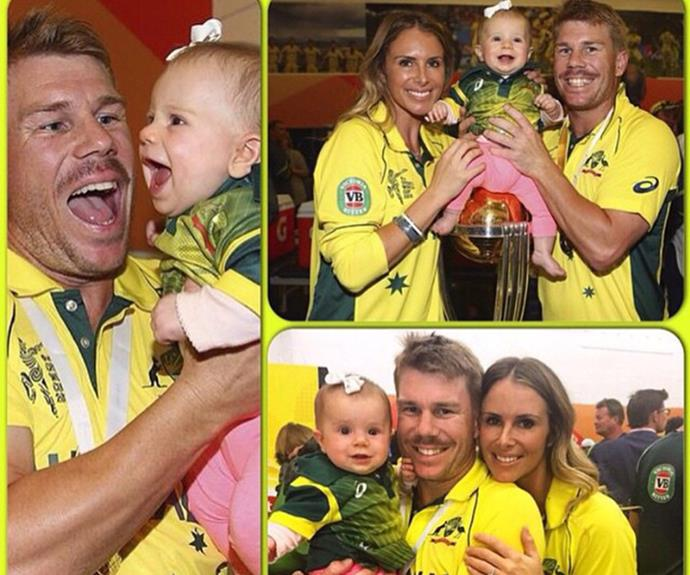 """David shared this amazing montage of his loved ones on Instagram. """"Wow what a feeling this is!! Dream come true winning the World Cup and to do it and enjoy it with my two girls is an amazing feeling. Love you both lots and I can't thank @candyfalzon enough for all her support."""""""