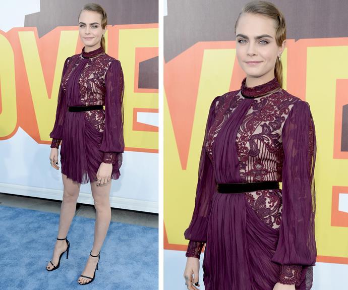 Cara Delevingne looks lovely in burgundy.