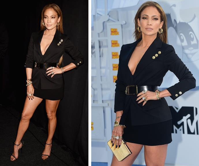 Jennifer Lopez looks super hot in a micro mini and low cut jacket.