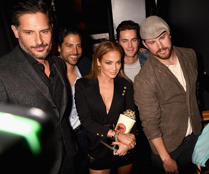 J-LO cuddles up to the Magic Mike cast!