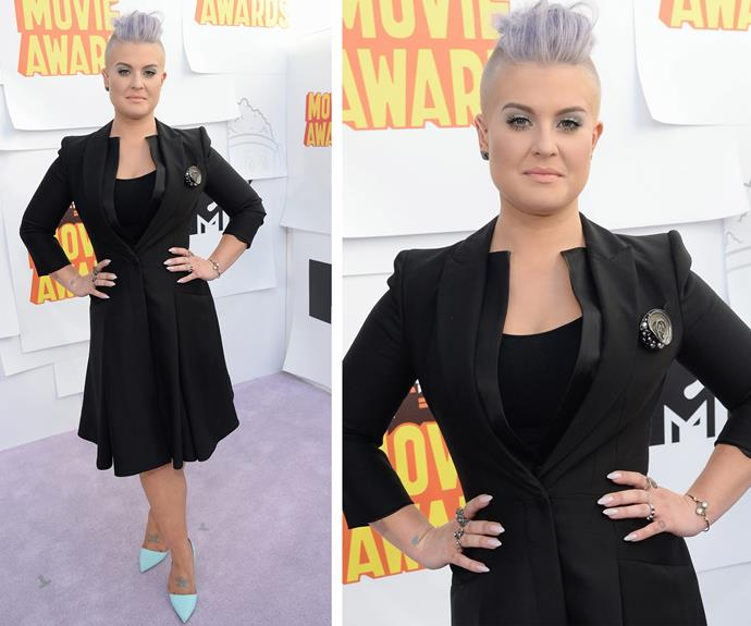 Kelly Osbourne rocks all black with pastel shoes.
