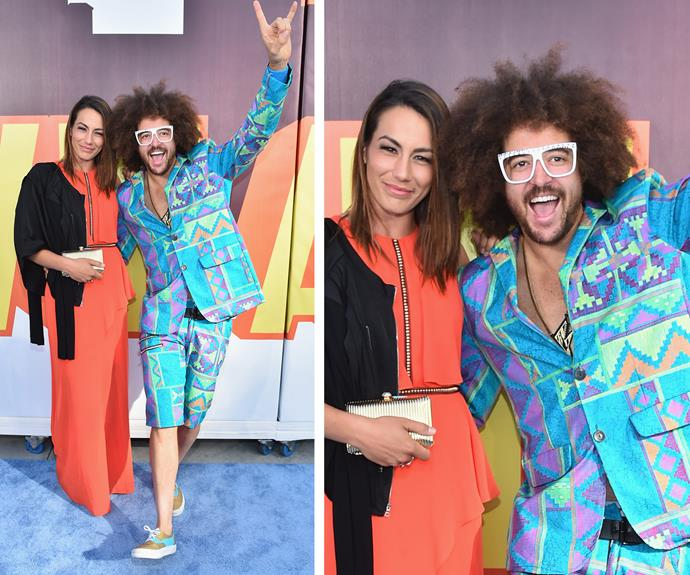 Redfoo rocks some serious colour on the blue carpet!