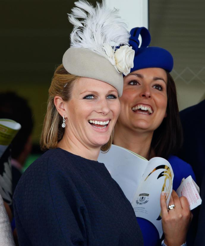 Zara Tindall nee Phillips looked very elegant in a feathered hat and thrilled with hubby Mike's win.