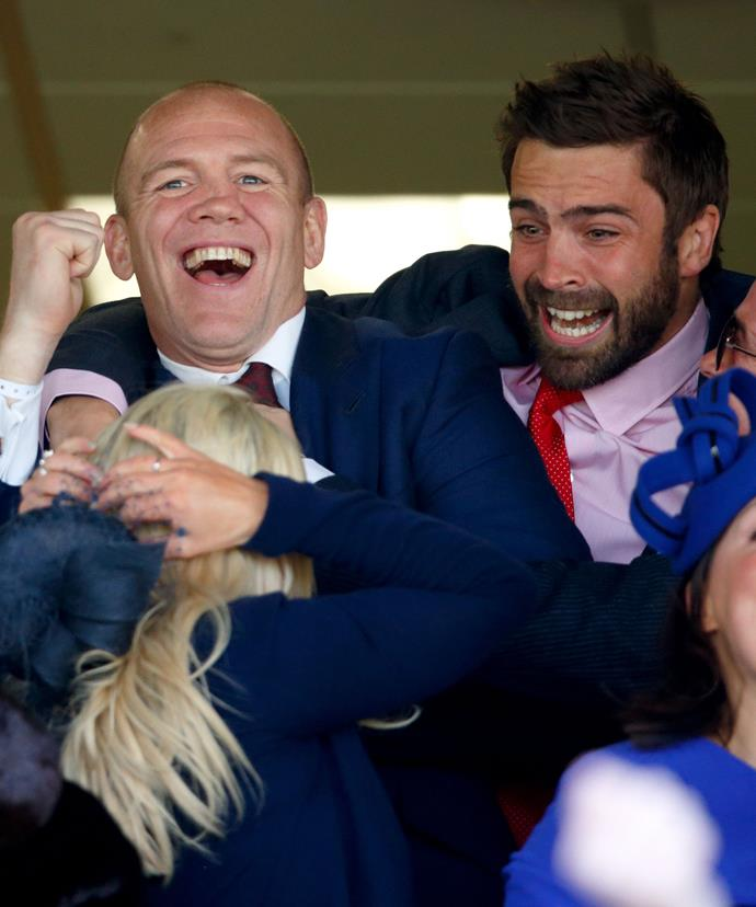 Mike Tindall and his pals appear absolutely over-the-moon to see his horse Monbeg Dude come in third place!