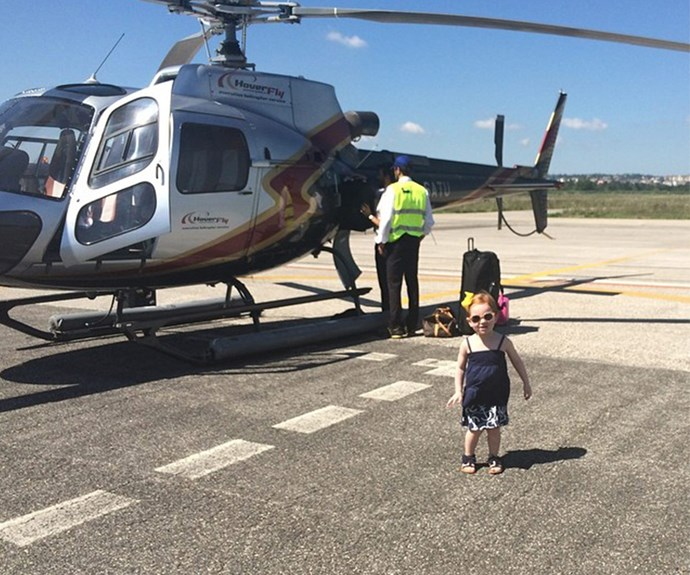 Pixie travels by helicopter.