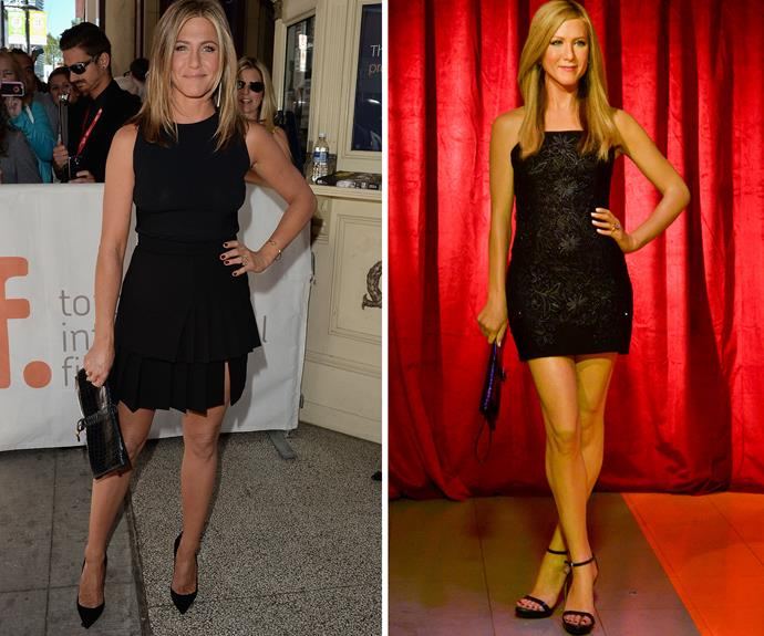 Jennifer Aniston seems to be having severe ankle problems, although we can't get over her unusually thin head.